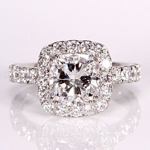 2ct platinum Halo ring handmade Phillip Jennings