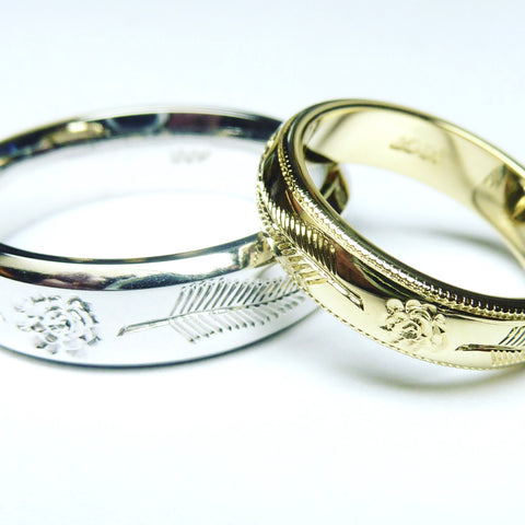 gents and ladies gold matching engraved wedding rings