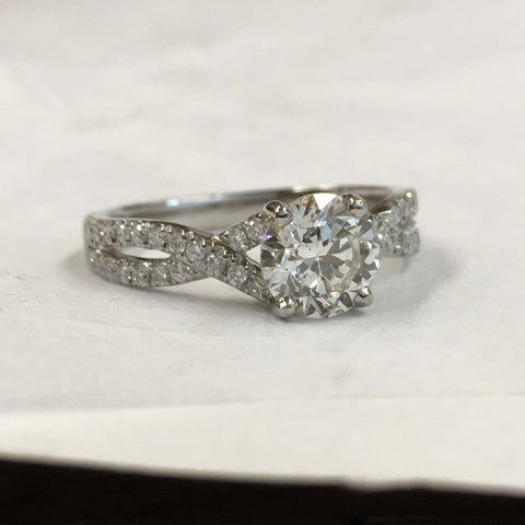 Filigree diamond engagement ring
