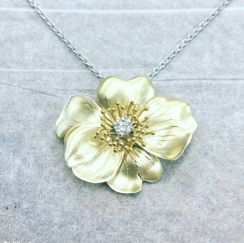 handmade 18ct yellow gold rose flower necklace