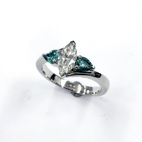 Marquee diamond and tourmaline engagement ring