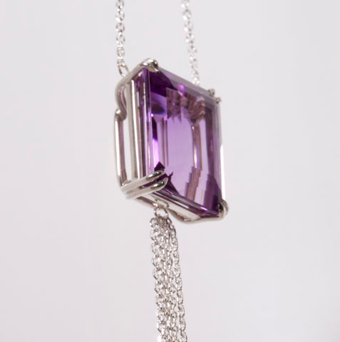 Amethyst necklace handmade in silver