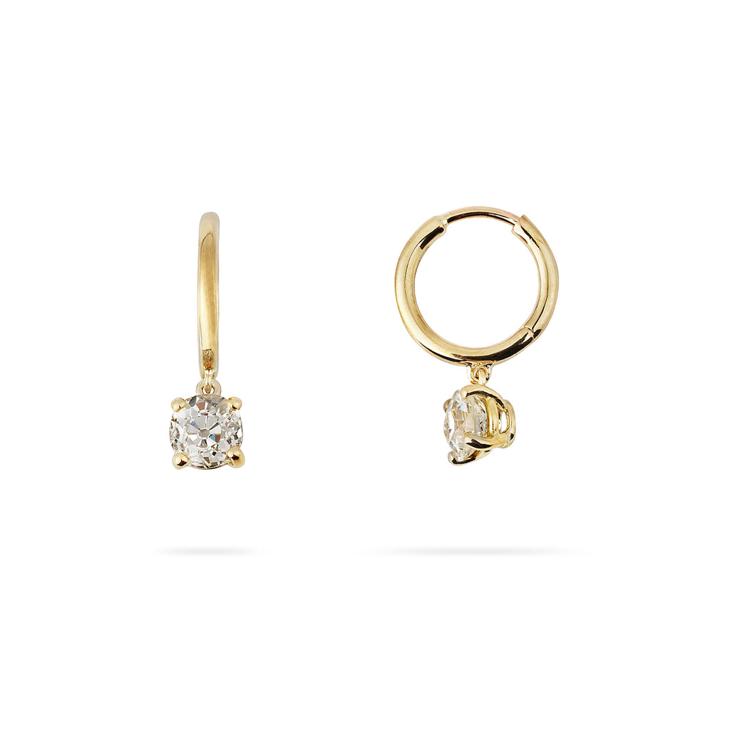 Yellow gold hoop earrings with old cut diamond drops. Front and side view on white background