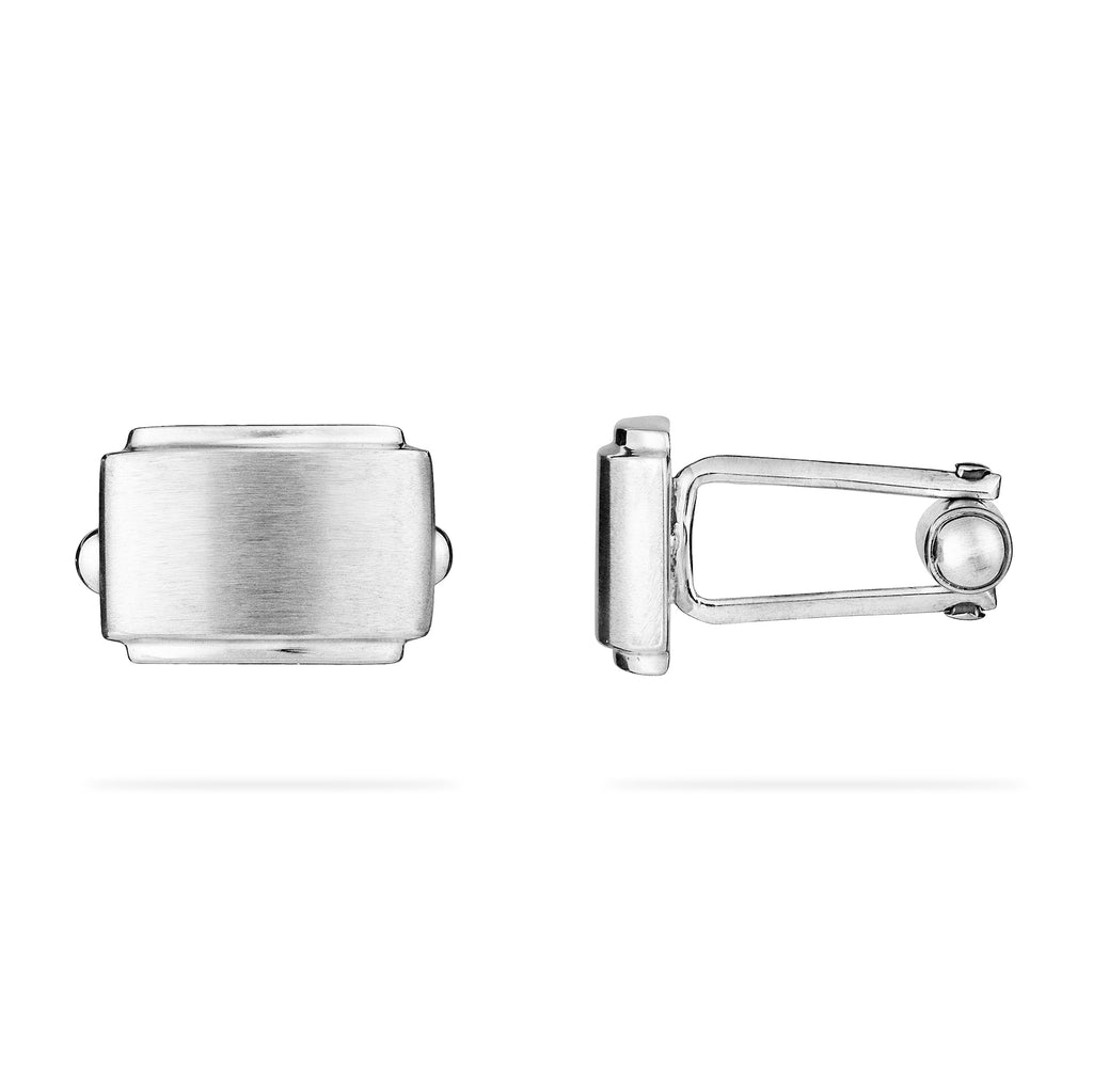 Sterling silver unisex designer cufflinks viewed from side and top