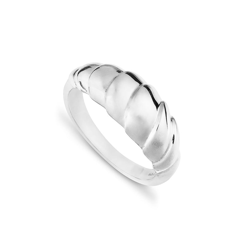 Organic and contemporary silver wave design ring on a white background