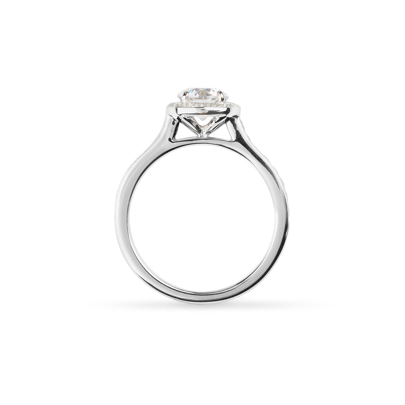 Pave set Diamond Halo wed-fit engagement ring with 0.80ct Brilliant cut diamond on a white background.