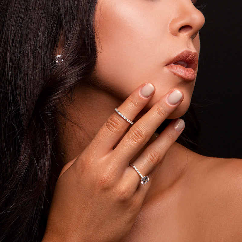 Bridal diamond jewelry collection worn by fashion model