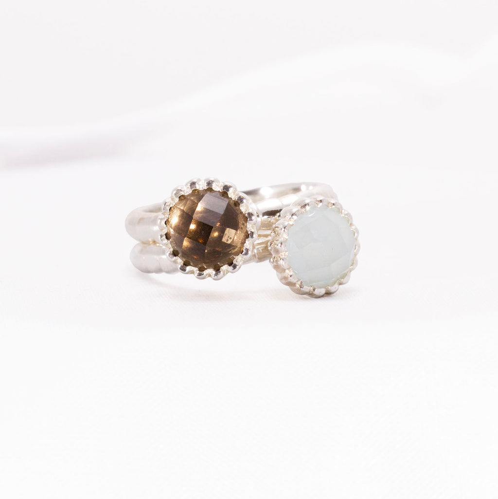 Smokey Quartz and Aquamarine Cabochon gemstones in Silver cocktail ring designs