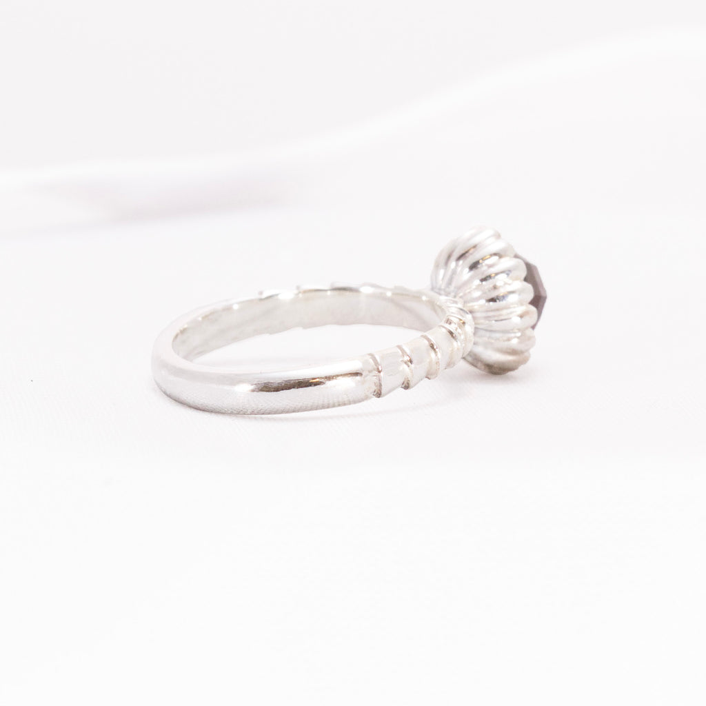 Sterling Silver dress ring design with tulip flower style setting and chunky shank.