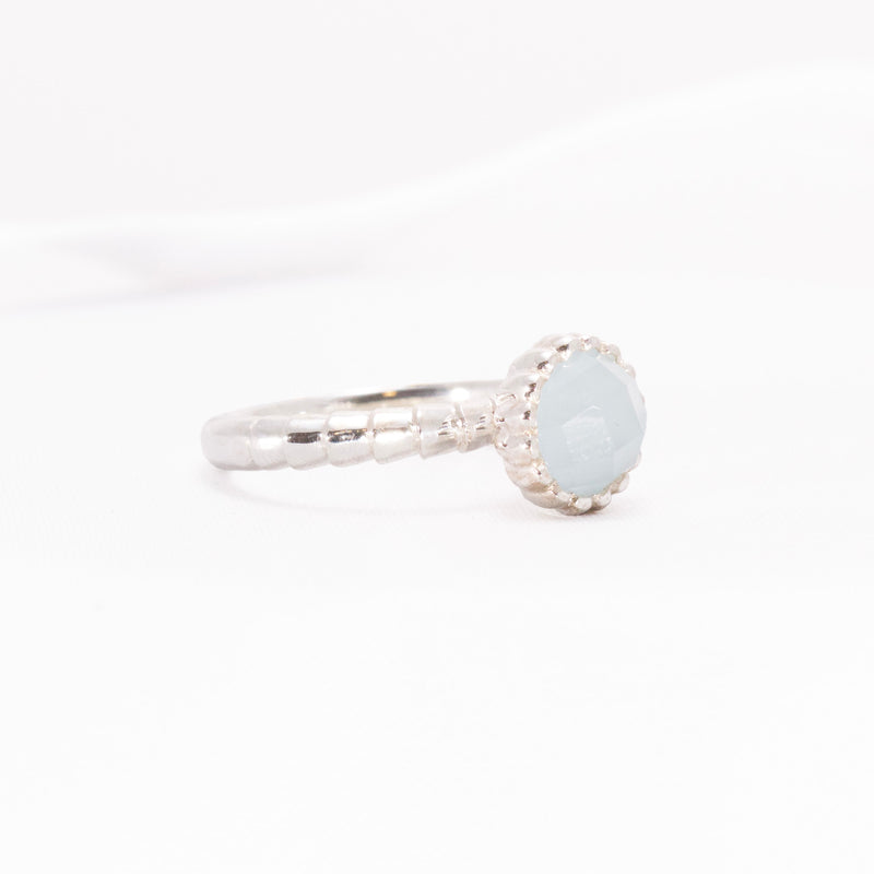 Cabochon Aquamarine semi-precious gemstone in Sterling Silver designer ring