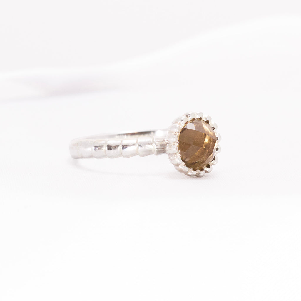 Smokey Quartz Cabochon gemstone in handmade Sterling Silver dress ring design