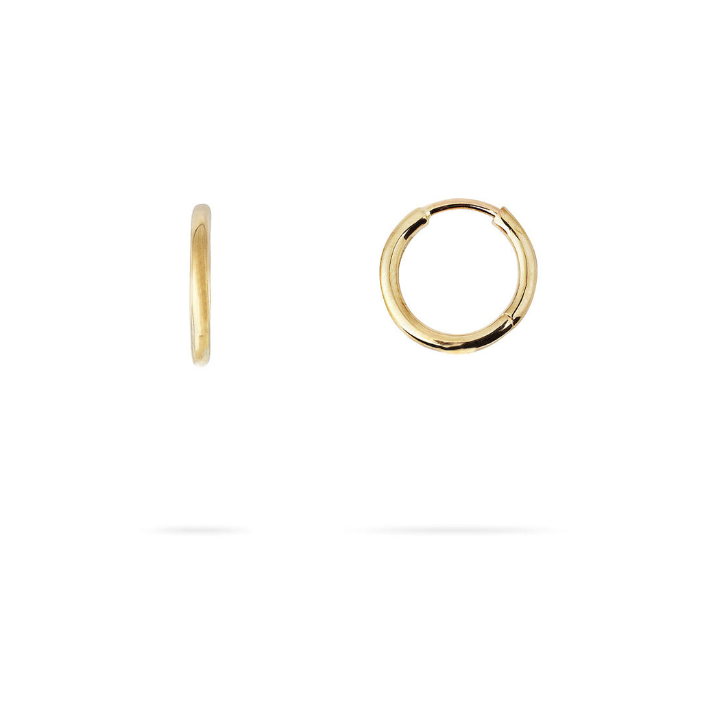 Yellow gold hoop earrings. Front and side view on white background