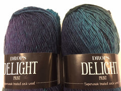 Delight Sock yarn by Drops, 50 gm (1.75 oz) balls