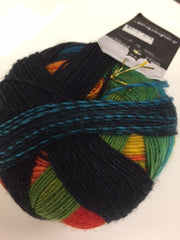 Zauberball sock, 75% wool, 25% nylon, 100 gm (3.5 oz) ball
