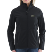 WOMEN'S STORM CREEK HIGH-STRETCH FLEECE-LINED SOFTSHELL JACKET- Pleather Mono Patch