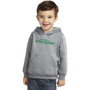 Port & Company Toddler Core Fleece Pullover Hooded Sweatshirt- My Mom is a Wolverine