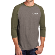 District Perfect Tri 3/4-Sleeve Raglan- UVU Distressed and UVU Mono