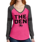 District Women's Game Long Sleeve V-Neck Tee- Protect The Den