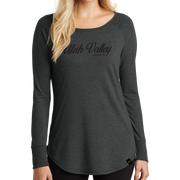 District Women's Perfect Tri Long Sleeve Tunic Tee- UV Cursive