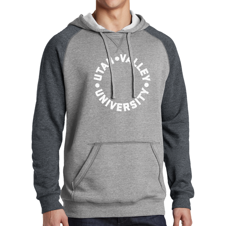 District Lightweight Fleece Raglan Hoodie- UVU Distressed