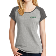 New Era Ladies Heritage Blend Varsity Tee - UVU  Distressed and  UVU Mono