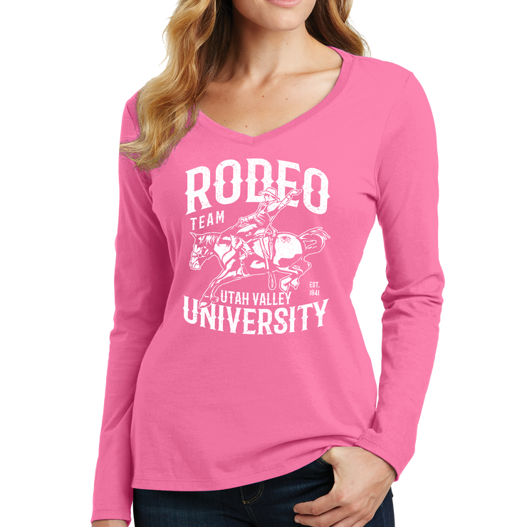 Port & Company Ladies Long Sleeve Fan Favorite V-Neck Tee - UVU Rodeo