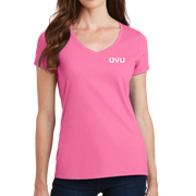 Port & Company Ladies Fan Favorite V-Neck Tee - UVU Distressed and UVU Mono