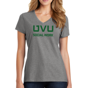 Port & Company Ladies Fan Favorite Blend V-Neck Tee- UVU Social Work