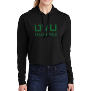 Sport-Tek Ladies PosiCharge Tri-Blend Wicking Fleece Crop Hooded Pullover - UVU Track & Field