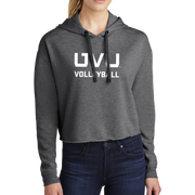 Sport-Tek Ladies PosiCharge Tri-Blend Wicking Fleece Crop Hooded Pullover - UVU Volleyball