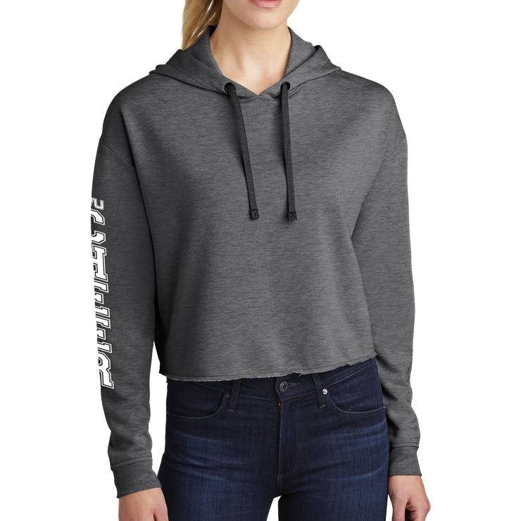Sport-Tek Ladies PosiCharge Tri-Blend Wicking Fleece Crop Hooded Pullover - Cheer Block