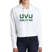 Sport-Tek Ladies PosiCharge Tri-Blend Wicking Fleece Crop Hooded Pullover - UVU Wrestling