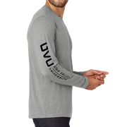 New Era Heritage Blend Long Sleeve Crew Tee- UVU Mono and Horizontal