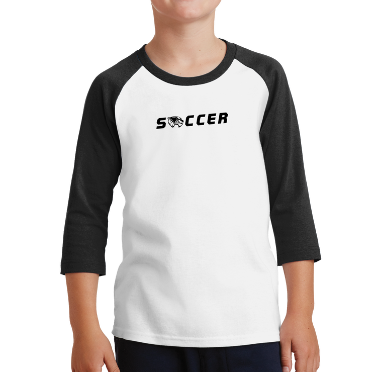 Port & Company Youth Core Blend 3/4-Sleeve Raglan Tee - Soccer Head