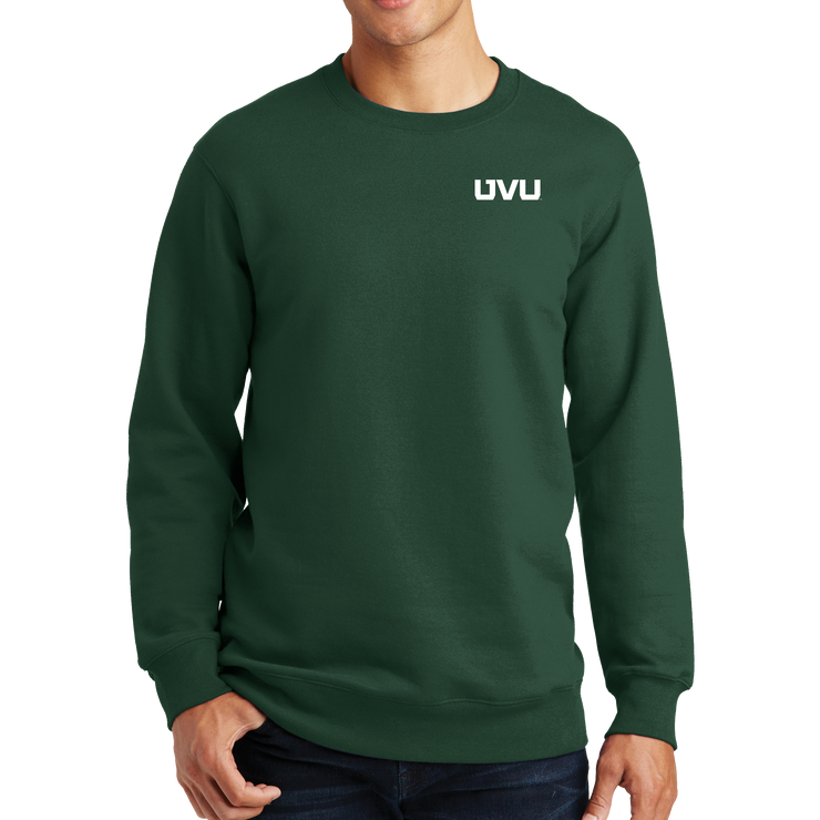 Port & Company Fan Favorite Fleece Crewneck Sweatshirt - UVU Distressed and UVU Mono