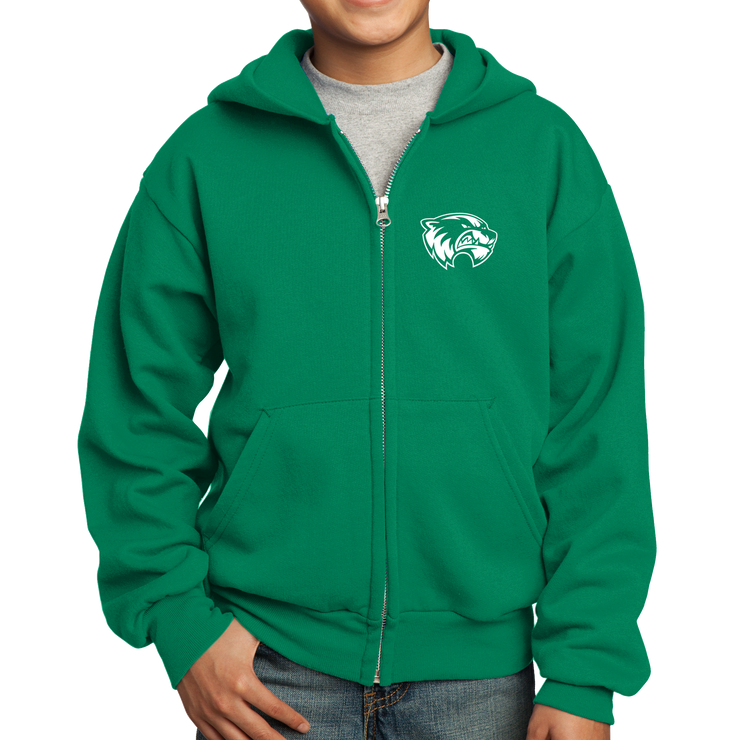 Port & Company Youth Core Fleece Full-Zip Hooded Sweatshirt- Mascot Head
