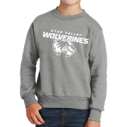 Port & Company Youth Core Fleece Crewneck Sweatshirt- Combo Under Wolverines