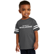 Rabbit Skins Toddler Football Fine Jersey Tee - My Mom is a Wolverine