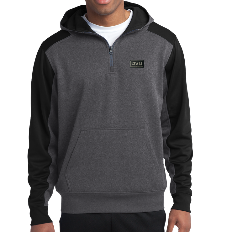 Sport-Tek Tech Fleece Colorblock 1/4-Zip Hooded Sweatshirt - Pleather Mono Patch