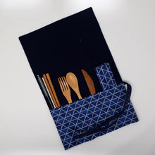 Load image into Gallery viewer, Blue Bamboo Utensil Roll-Up