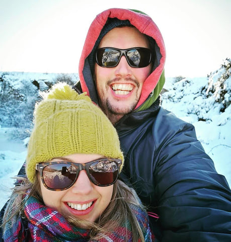 snow, couple, sunglasses