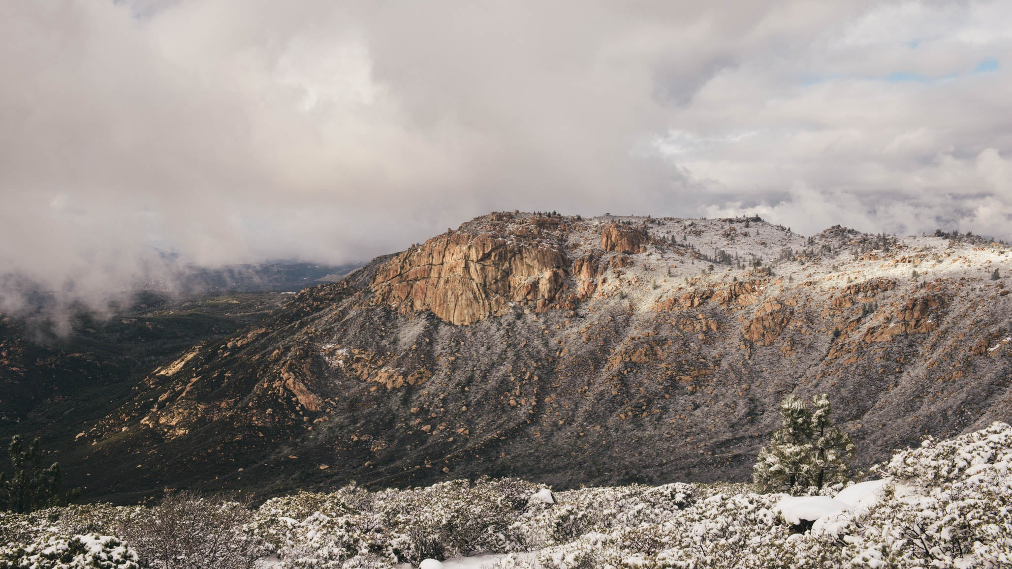Snow on Corte Madera Mountain and Corral Canyon in the Cleveland National Forest in San Diego
