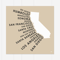 California Coastal Counties Print