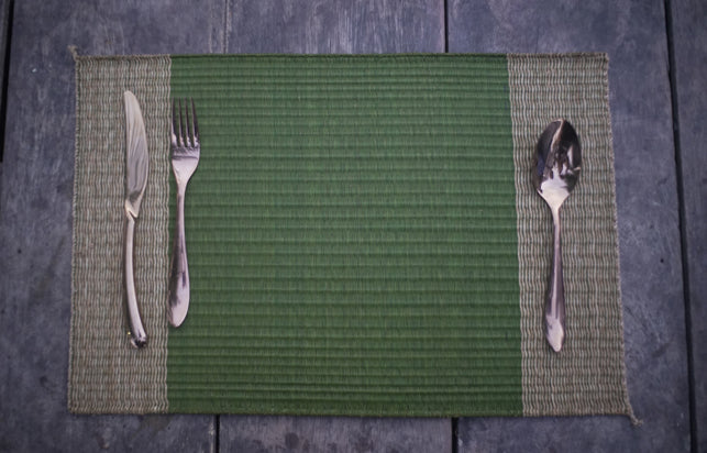 Placemat L Emerald Edge stripe