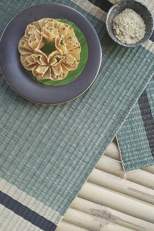 Placemat L Basil Pasta Green Center