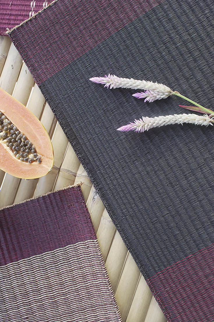 Placemat L Cherry Edge Stripe Black Center