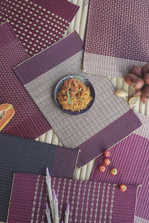 Placemat L Cherry Edge Stripe Red Center