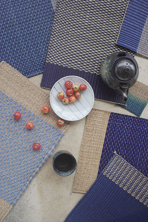 Placemat L Navy Center Stripe