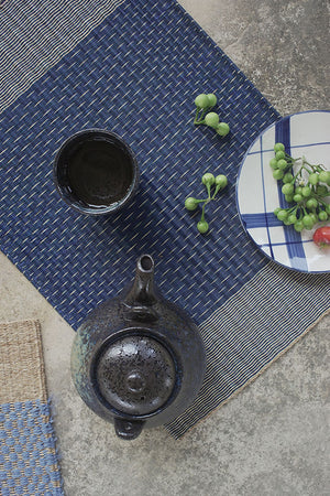 Placemat L Navy Stripe Rain