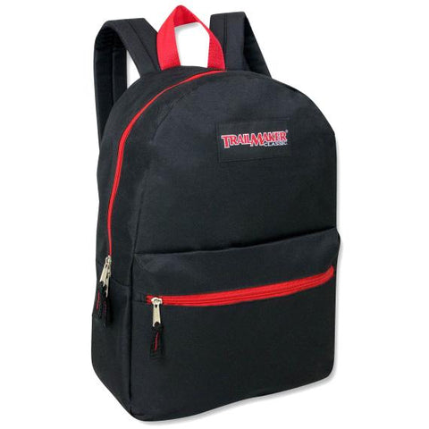 Backpack Trailmaker 17 Inch Black Red Zippers